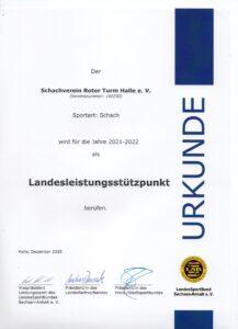Urkunde Leistungsstützpunkt SV Roter Turm 2020/2021